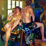 La conversation - Huile sur toile - 65x54