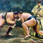 Combat de Sumo : l'approche - Huile sur toile - 81x65