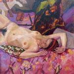 Flore sur fond Paolo Ucello - Huile sur toile - 80x80