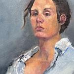 Portrait au chemisier bleu - Huile sur toile - 65x54