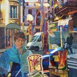 Le fauteuil doré - Huile sur toile - 92x73