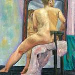 Nu au miroir - Huile sur toile - 61x50