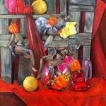 Nature morte aux poivrons - Huile sur toile - 92x73