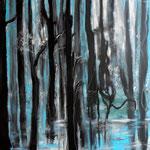 """Alberts_ """"das Rauschen der Wälder"""", Acryl auf Leinwand, 100 x 90 cm, 2017"""