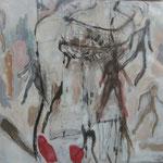 o.T.,Acryl Kohle auf Holz, 103x117 cm, 2009