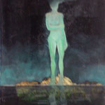 statue lunaire-huile sur carte-40x50-1977