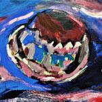 """Hoed -detail """"Drifting"""" acryl op papier"""