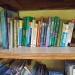 espace bibliothèque dans la pièce commune : de nombreux guides et cartes à votre disposition