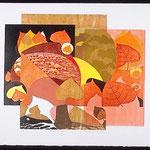 Tout autour, 1998, bois gravé, 63 X 75 cm