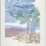 L'arbre, 1987, bois gravé, 31 X 25 cm