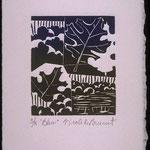 Bleu, 1997, bois gravé, gaufrure, 19 X 13 cm