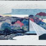 Entre-deux, bois gravé, collage, 57 X 77 cmm