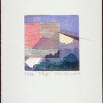 3e temps, 1988, bois gravé, rehaussé au crayon de couleur, 26 X 19 cm