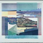Peu importe le temps, 1990, bois gravé, collage, 72 X 77 cm