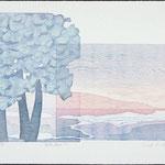 Entre lacs, 1986, bois gravé, 39 X 57 cm