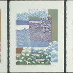 Vers l'intérieur, 1994, triptyque, bois gravé, gaufrure, 41 X 31 cm chaque feuillet