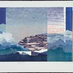 Temps d'arrêt, 1989, bois gravé, 57 X 77 cm