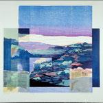 Le temps, écrire et dire, 1989, bois gravé, collage, 72 X 77 cm