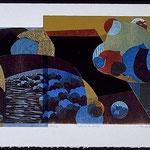silence de nuit, 1998, bois gravé, collage, 44 X 75 cm