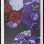 Ailleurs, septembre II, 1998, bois gravé, collage, 46 X 31 cm