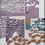 À l'entrée du jour, 1996, bois gravé, collage, 53 X 40 cm
