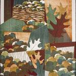 Érubescent, 1994, bois gravé, carton gravé, collage, 66 X 51 cm