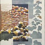 Aux environs, 1995, bois gravé, gaufrure, collage,  61 X 48 cm