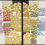 D'ici et...; D'ailleurs, 1994, diptyque, bois gravé, gaufrure, 41 X 30 cm chaque feuillet