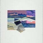 Lunes d'or lointaines, 1990, bois gravé, collage, 31 X 25 cm