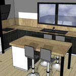 Projet vue 3D d'une cuisine sur mesure