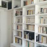 Fabrication bibliothèque hêtre massif laqué blanc sur mesure