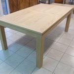 Table chêne massif aspect brut avec 2 rallonges
