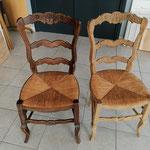 Décapage chaise à l'aérogommeuse avant et après