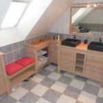 Fabrication meuble salle de bains chêne massif sur mesure