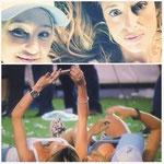 Selfie de las hijas del presidente de Racing durante la celebración del título logrado.