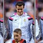 La incredulidad del niño que acompaño a Gareth Bale.