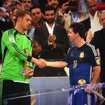 Manuel Neuer y Lionel Messi, nombrados mejor arquero y mejor jugador del Mundial de Brasil, respectivamente.