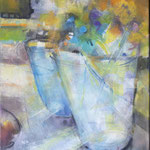 Stillleben I...Aquarell auf Leinwand, inkl. R. ca. 35 x 45 cm