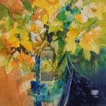 Gelbe Blüten in der Vase...Aquarell inkl. R.