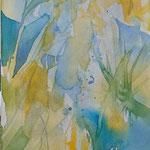 Sonnenblumen... Aquarell auf Leinwand, 30 x 90 cm