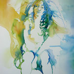 Summergirl blue I... Aquarell auf Hartfaserplatte... 60 x 80 cm