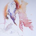 Summergirl relaxed II... Aquarell auf Hartfaserplatte... 60 x 80 cm