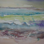 Kleines Meer IV...Aquarell auf Leinwand, 30 x 30 cm