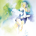 Summergirl blue II... Aquarell auf Hartfaserplatte... 60 x 80 cm