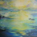 Spiegelung am Meer...Acrylgemälde, 80 x 80 cm