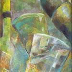 Gläser, ….grün...Acrylgemälde, 20 x 30 cm