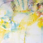 Gartenglück.... Aquarell auf Leinwand., 70 x 100 cm