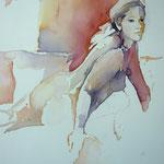 Summergirl relaxed I... Aquarell auf Hartfaserplatte... 60 x 80 cm
