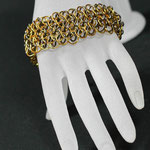 ChainMaille-Armband Dragonscale anthrazit/gold (00148)