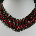 "ChainMaille-Collier 4-in1 2red/black"" (00142)"
